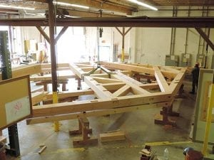 A timber bent being pre-fit in the shop