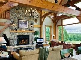 Great Room & Fireplace in a Timber Home